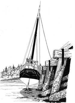 Drawn oat sailing vessel