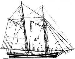 Drawn yacht tall ship