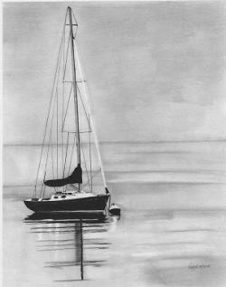 Drawn yacht pencil sketch