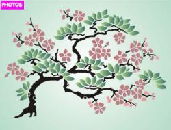 Drawn sakura blossom bonsai tree