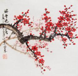 Drawn cherry blossom oriental