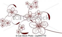Cherry Blossom clipart line drawing