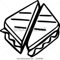 Grilled Cheese clipart black and white
