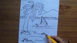 Drawn yacht scenery