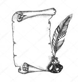 Drawn scroll feather