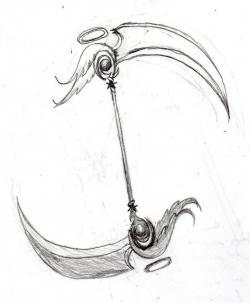 Drawn scythe headed