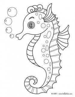 Drawn seahorse underwater