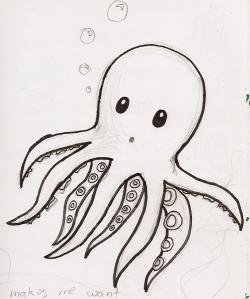 Drawn squid cute