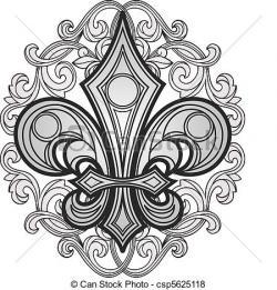 Gothc clipart fleur de lis cross