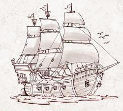 Drawn pirate pirate ship