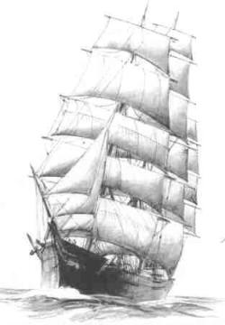 Drawn sailing ship