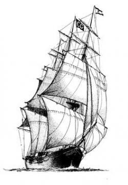 Drawn oat nautical ship