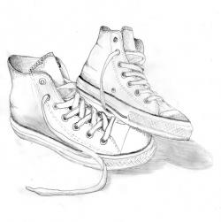 Drawn sneakers converse