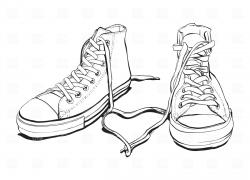 Drawn converse tennis shoe