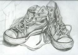 Drawn shoe old pair