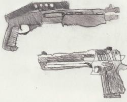 Drawn shotgun desert eagle