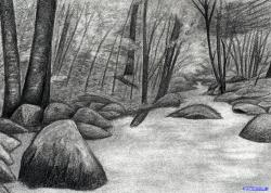Drawn landscape water stream