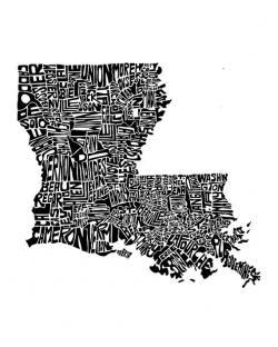 Drawn map louisiana