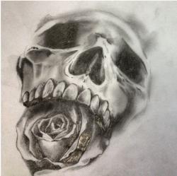 Drawn tattoo skull