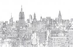 Drawn skyline manhattan