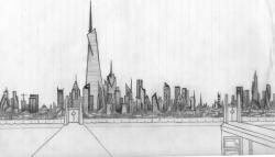 Drawn city futuristic