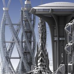 Drawn skyscraper futuristic
