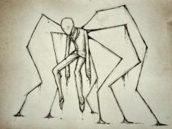 Drawn slender man happy