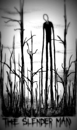 Drawn slender man hidden