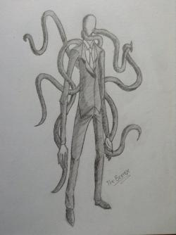 Drawn slender man pencil