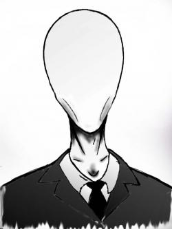 Drawn slender man face