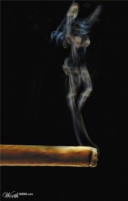 Drawn smokey cigar smoke