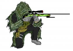 Drawn snipers ghillie suit