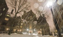 Drawn snowfall princeton university campus