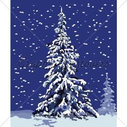 Drawn snow snowy tree