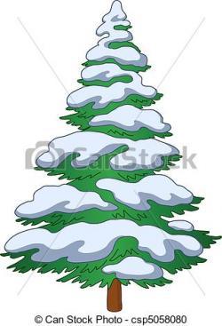 Drawn fir tree snowy tree