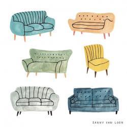 Drawn sofa illustration