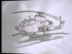 Drawn helicopter attack helicopter