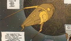 Drawn spaceship comic book