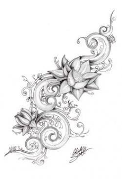 Drawn hummingbird lotus blossom