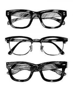 Drawn glasses transparent