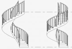 Drawn spheric staircase