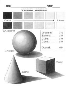 Drawn spheric value scale
