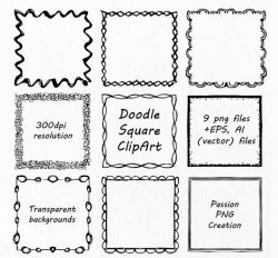 Square clipart hand drawn