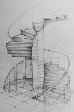 Drawn stairs person