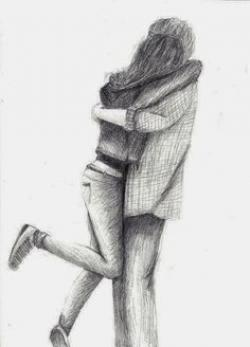 Drawn hug jump