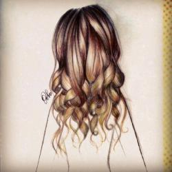 Drawn long hair curl hair