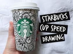 Drawn mug starbucks coffee