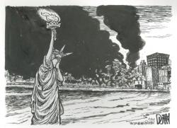 Drawn statue of liberty september 11