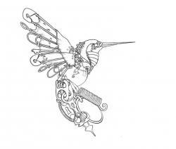 Drawn hummingbird clockwork