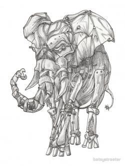 Drawn asian elephant cyborg